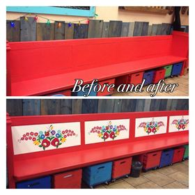 Before and after hand painted bench